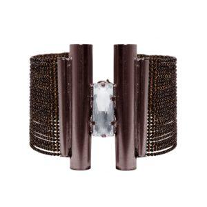 B63050.63 - Bracelets étain cuivré avec un grand cristal clair