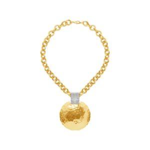 N63074.10 - Colliers étain doré à l'or 24 Carats avec un grand dome martelé