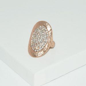 R51060.51 - Bague étain doré rose à l'or 24 Carats avec cristaux dans un ovale