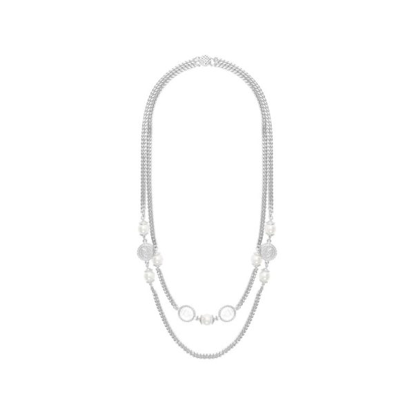 N63146.22 - Collier étain argenté au 925 Sterling élégant avec des perles de verre