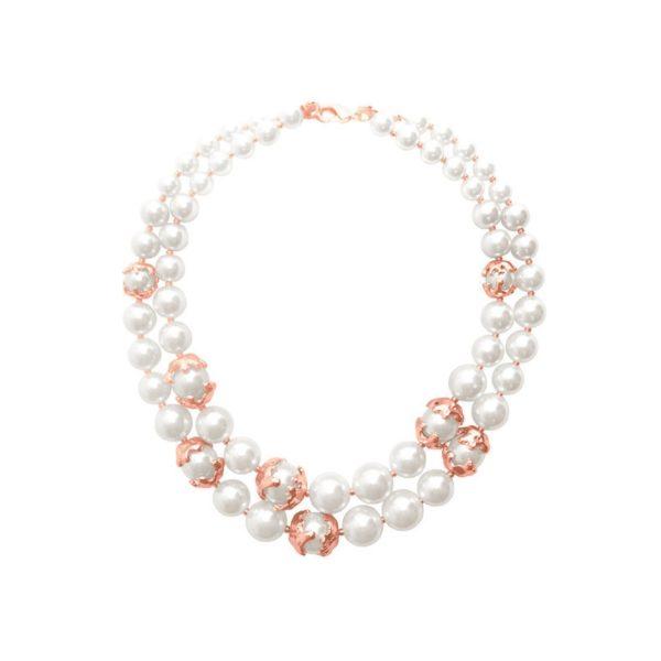 N62025.52 - Collier étain doré rose 24 Carats avec deux rangées de perles
