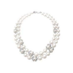 N62025.22 - Collier étain argenté aux 925 Sterling avec deux rangées de perles