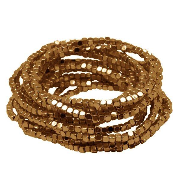 B50002.30 Bracelet à perles empilable extensible doré à l'or oxydé 24 carats