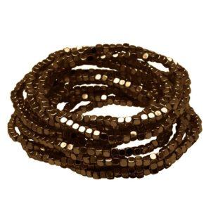 B50002.60 Bracelet à perles empilable extensible bronzé
