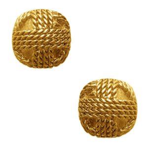E62099.30 - Boucles d'oreilles étain doré 24 Carats rondes comportant une pile de corde design
