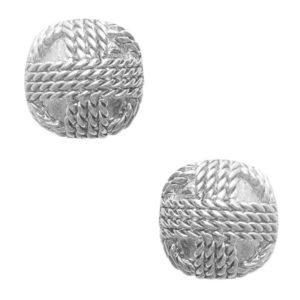 E62099.40 - Boucles d'oreilles étain argenté 925 Sterling rondes comportant une pile de corde design
