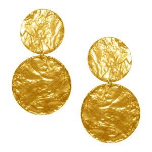 E62070.10 - Boucle d'oreilles étain doré 24 Carats avec deux gros médaillons