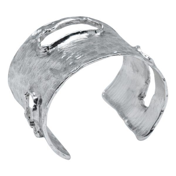 CARLA - B09846.40 Bracelet martelé étain argenté au 925 Sterling oxydé