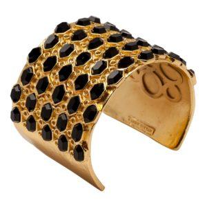 B55030.13 Bracelet doré à l'or fin 24 Carats mat avec résine noir