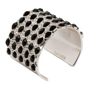 B55030.23 Bracelet argenté au 925 Sterling mat avec résine noir