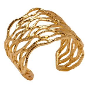YAEL - B56005.10 Bracelet doré à l'or fin 24 Carats avec forme ovale sculpté