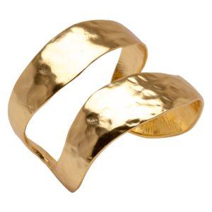 ANNIE - B57016.10 Bracelet martelé doré à l'or fin 24 carats mat de forme onduleuse