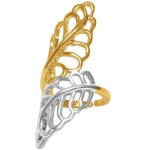 Bague en étain doré 24 Carats avec un design de deux feuilles torsadées