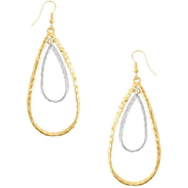 E50411.01 - Boucle d'oreilles doré et argenté en forme de goute