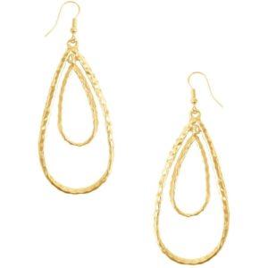 E50411.10 - Boucle d'oreilles doré en forme de goute