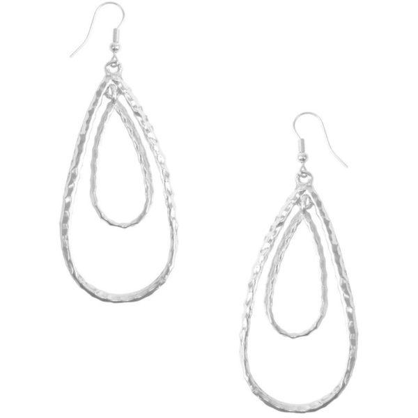 E50411.20 - Boucle d'oreilles argenté en forme de goute