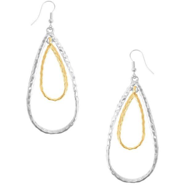E50411.02 - Boucle d'oreilles argenté et doré en forme de goute
