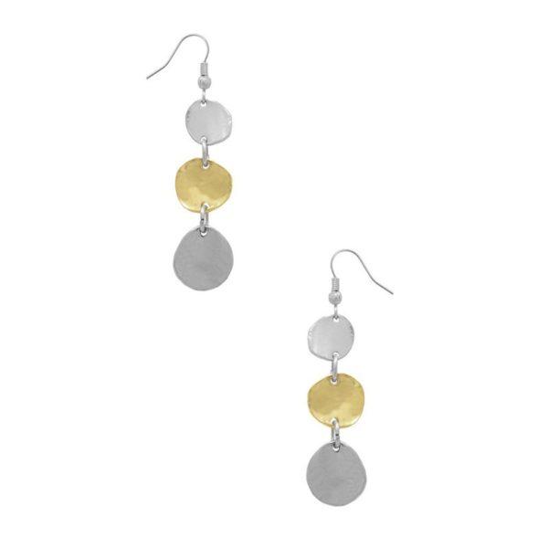 E56008.02 - Boucle d'oreilles argenté et doré avec trois mini disques