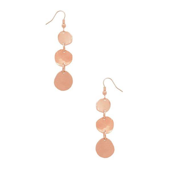 E56008.50 - Boucle d'oreilles doré rose avec trois mini disques
