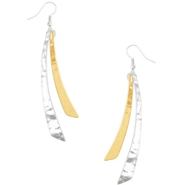 E58097.02 - Boucles d'oreilles argenté et doré sous forme de courbe