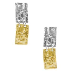 E64016.02 - Boucles d'oreilles doré et argenté de forme rectangulaire