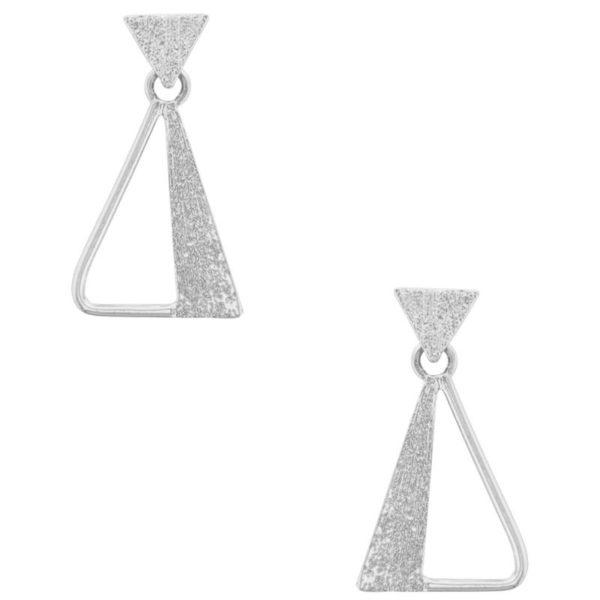 E64022.20 - Boucles d'oreilles argenté en forme d'un grand triangle