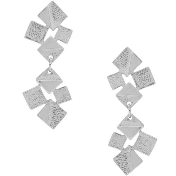 E64095.20 - Boucles d'oreilles argenté composé de grappes