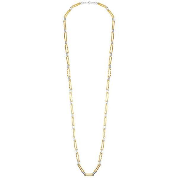N12058.01 Collier doré et argenté avec des rectangles enchaînés