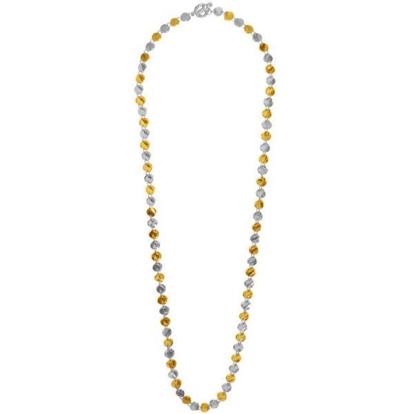 N12565.01 - Long collier doré et argenté avec une multitude de médaillon.
