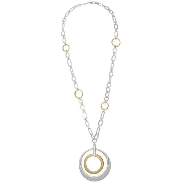 N59015.02 - Collier doré et argenté à double pendentif