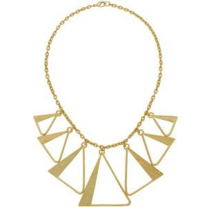 N64020.10 - Collier doré à l'or fin 24 Carats avec des triangles en pendantif