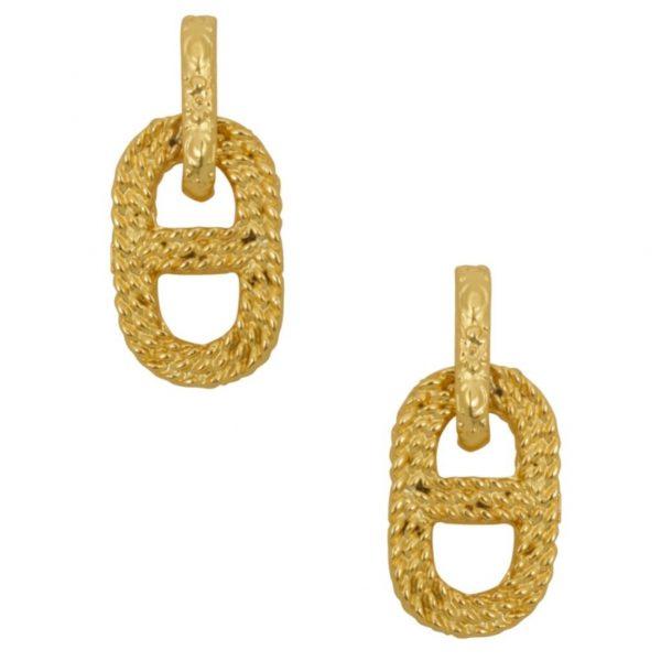 E63230.10 - Boucles d'oreilles doré avec la forme d'un lien de chaine.