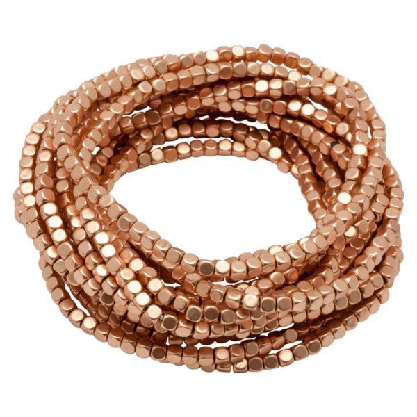 AVA - B50002.50 Bracelet à perles empilable extensible doré à l'or rose fin 24 carats