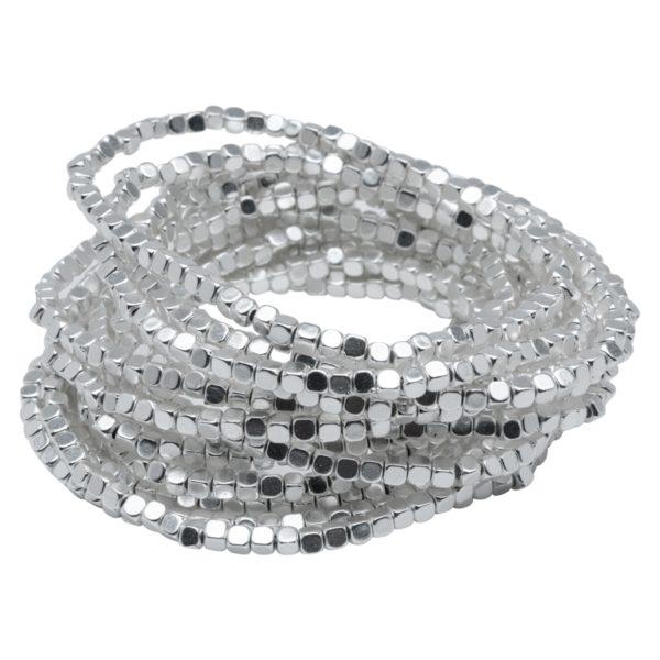 AVA - B50002.20 Bracelet à perles empilable extensible en étain argenté au 925 Sterling