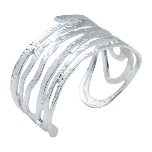 AMELIE - B08126.20 Bracelet tourbillon en étain argenté au 925 Sterling mat