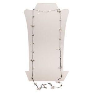 N50088.40 - Long collier noir avec des pépites argenté