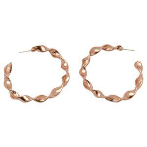 E50893.50 - Boucles d'oreilles doré rose avec une forme de tourbillon.