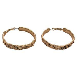 E50083.30 - Boucles d'oreilles doré de texture ondulée.