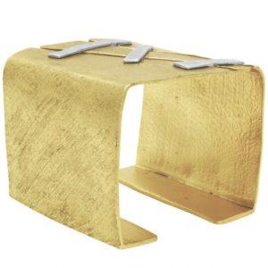 B66026.01 - Bracelet doré de forme carré avec des liens argenté