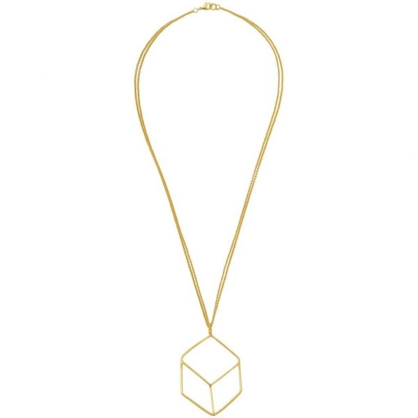 N64023.10 - Collier doré à l'or fin avec un pendentif carré en 3D