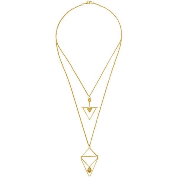 N64537.10 - Collier doré avec deux chaines fine comportant deux pendentifs