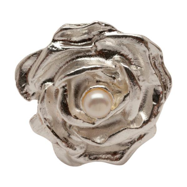 R55002.22 Bague en forme de Rose argentée au 925 sterling