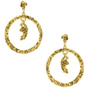 E50082.30 - Boucles d'oreilles étain doré de forme ronde