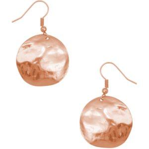 E50310.50 - Boucles d'oreilles étain doré rose de forme ronde