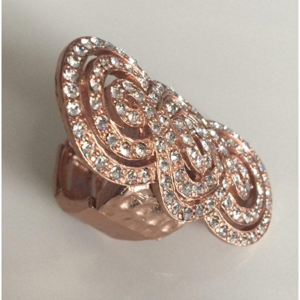 Bague étain dorée à l'or rose avec cristaux