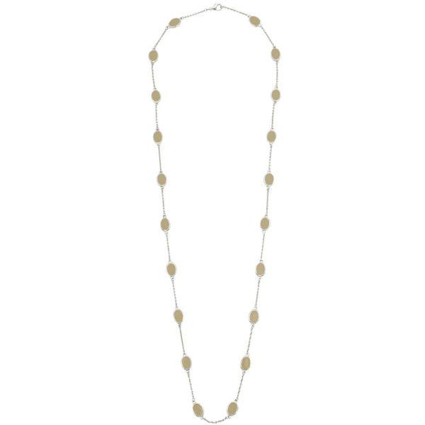 N54086.29 - Long collier argenté avec de l'email beige