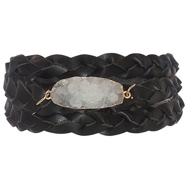 B80006.12 - Bracelet tréssée en cuir noir