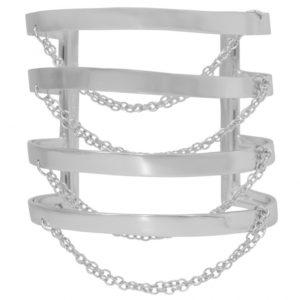 B67011.40 - Bracelet argenté ajustable avec une chaine glissante