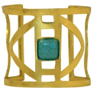 B67080.35 - Brassard moderne doré avec pierre naturelle