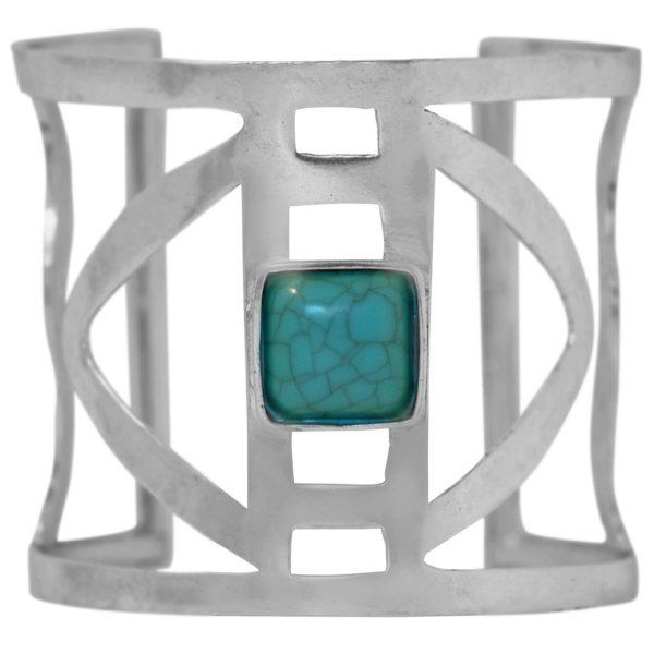 B67080.45 - Brassard moderne argenté avec pierre naturelle
